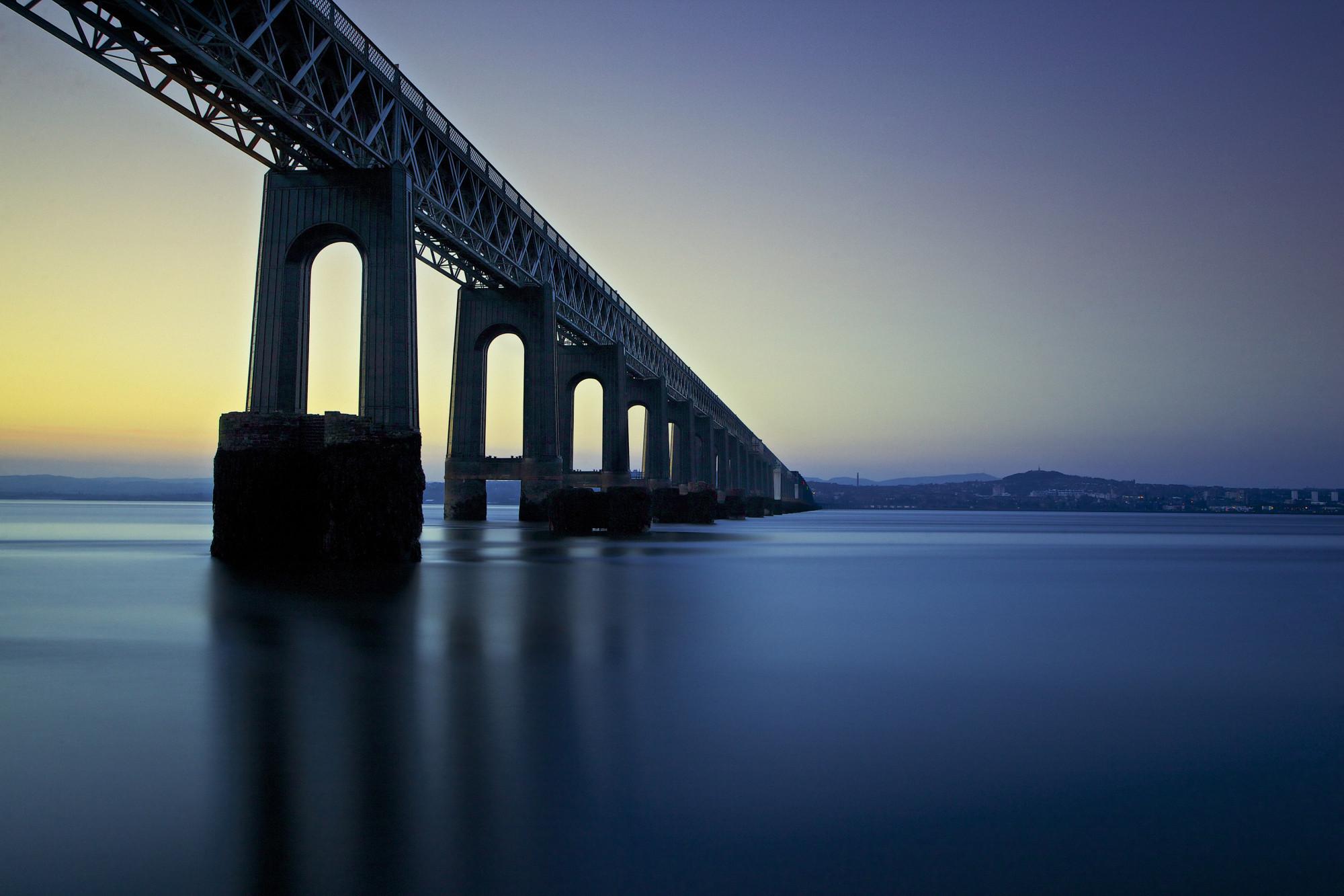 Tay Rail Bridge at Sunset by Gordon Forbes